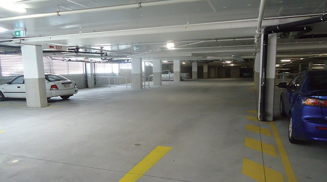 Car park exposed concrete floors need protection from vehicle traffic and moisture-borne contaminants